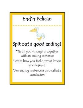Beanie Baby Writing Poster End'n Pelican