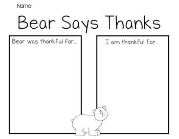 Bear Gives Thanks Response Sheet