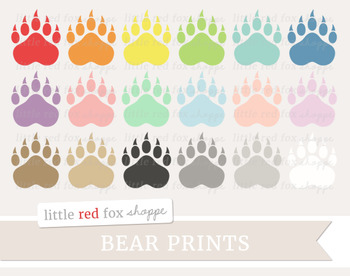 Bear Print Clipart; Animal Print