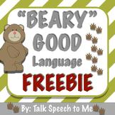 Bear Receptive and Expressive Language FREEBIE