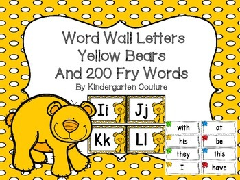Bear Theme Word Wall Letters (Yellow) and 200 Fry Words