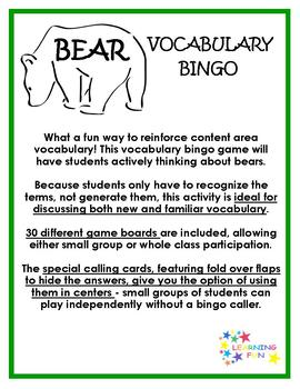 Bear Vocabulary Bingo