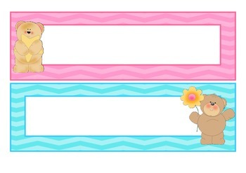 Bear themed name labels