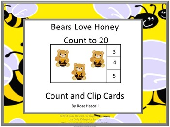 Count and Clip Cards Bears Love Honey Count to20  P-K, K,