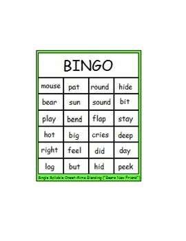 """Fun with Words:  """"Bear's New Friend"""" Single Syllable Onset"""