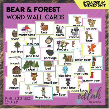 Bears Word Wall Cards (set of 18)