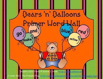 Bears 'n' Balloons Primer Word Wall