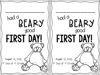 Beary 1st Day of First Grade