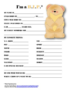 """""""Beary Important Person"""" star student questionnaire"""