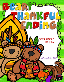 Beary Thankful Endings Thanksgiving Fall Differentiatled F