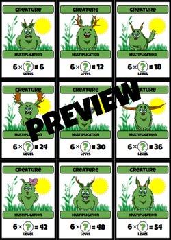 Beastie Battles: Complete Set Multiplication Fact Card Game