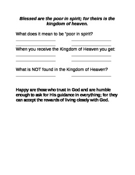 Beatitudes study guide