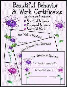 Beautiful Behavior & Work Certificates