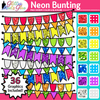 Neon Bunting Clip Art 1 {Glitter Rainbow Banners for Works