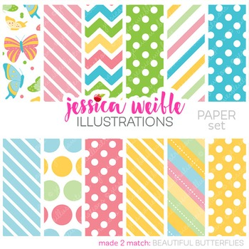 Beautiful Butterflies Matching Digital Papers, Butterfly Papers