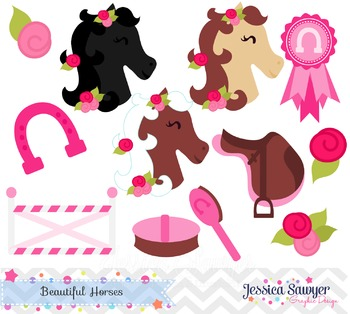 Beautiful Horses Clipart, Pony Clipart, for Personal Use o