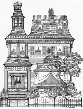 Beautiful Victorian Mansion Coloring Sheet
