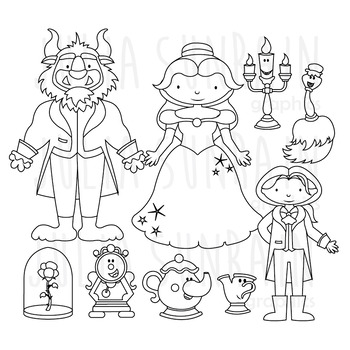 Beauty and the Beast - Digital Stamp - Digital Clipart & V