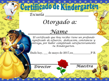 Beauty & the Beast Achievement Award English and Spanish v