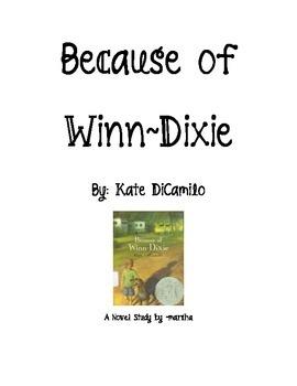 Because of Winn Dixie ~ A Novel Study Unit for Reader's Workshop