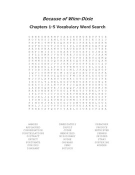 Because of Winn-Dixie Ch. 1-5 Vocabulary Word Search