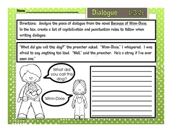 Because of Winn-Dixie Dialogue Printable