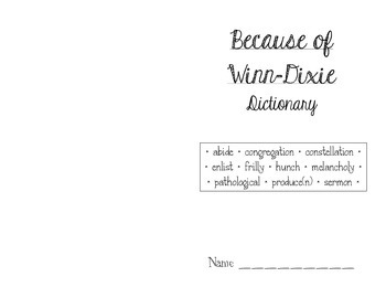 Because of Winn-Dixie Dictionary