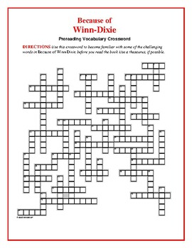 Because of Winn-Dixie: Prereading Vocabulary Crossword--50 words!