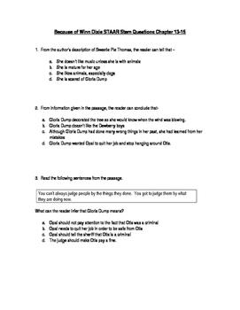 Because of Winn Dixie STAAR Stem Questions Ch. 13-15
