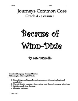 Journeys Common Core 4th - Because of Winn-Dixie Supplemen
