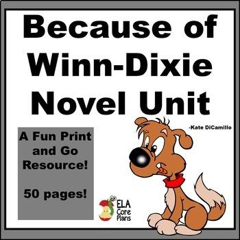 Because of Winn Dixie Novel Unit, Activities, Handouts, Te