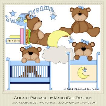 Beddy Bye Bear Blue Clip Art Graphics by MarloDee Designs