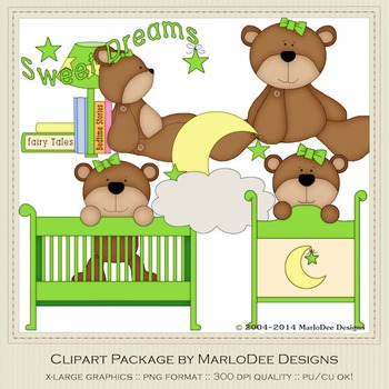 Beddy Bye Bear Green Clip Art Graphics by MarloDee Designs