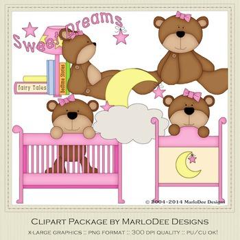 Beddy Bye Bear Pink Clip Art Graphics by MarloDee Designs