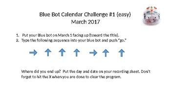 Bee Bot/Blue Bot Calendar Challenge Easy