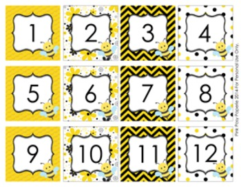 Bee Classroom Decor Calendar Numbers