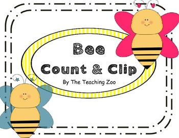 Bumble Bee Count & Clip 1-20 Task Cards