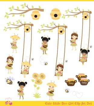 Bee Girls Clipart Set