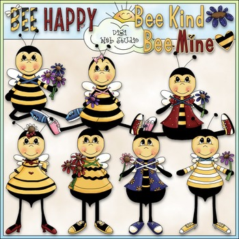 Bee Happy Clip Art - Bee Clip Art - Bumblebee - Honeybee -