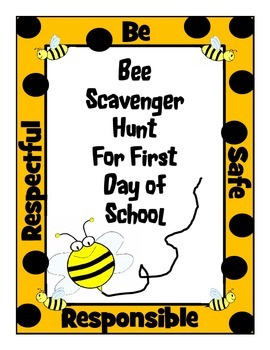 Bee Scavenger Hunt for First Day of School