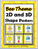 2D Shapes and 3D Shapes Posters - Bee Theme