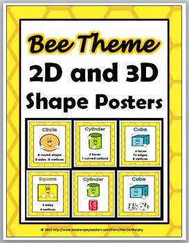 Bee Theme 2D Shapes and 3D Shapes - Geometry Posters - Geo