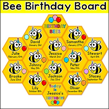 Birthday Board - Bee Theme Classroom Decor