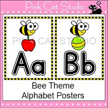 Bee Theme Alphabet Posters