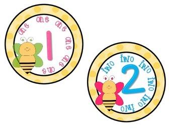 Classroom Numbers 1-10 Bee Theme