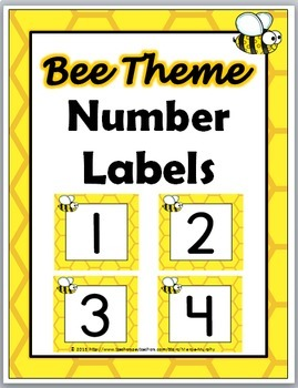 Bee Theme Number Labels 1 - 40