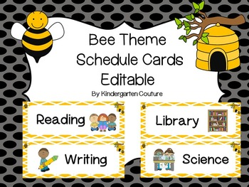 Bee Theme Schedule Cards -editable