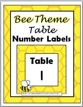 Bee Theme Table Number Labels