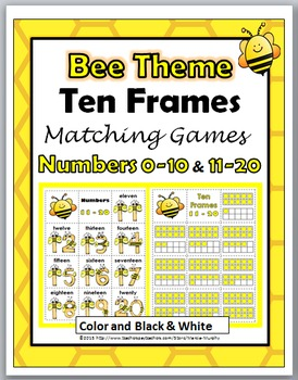 Bee Theme Ten Frame Matching Games - Numbers 1-10 & Number