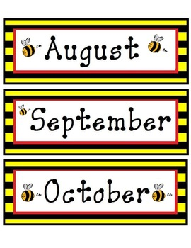 Bee Themed 12 Month Calendar Cards